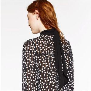 Zara Pleated Polka Dot Top